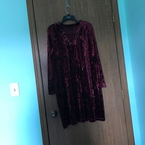 Burgundy Velour Dress